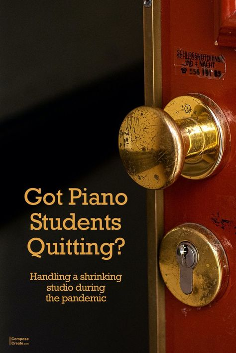 Shrinking piano studio? Piano students leaving? Here are big picture thoughts and practical suggestions. #piano #teacher #teaching #studio #business #recession #quit #quitting #policy