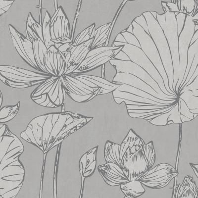Seabrook Designs Lotus Metallic Silver and Gray Floral Wallpaper