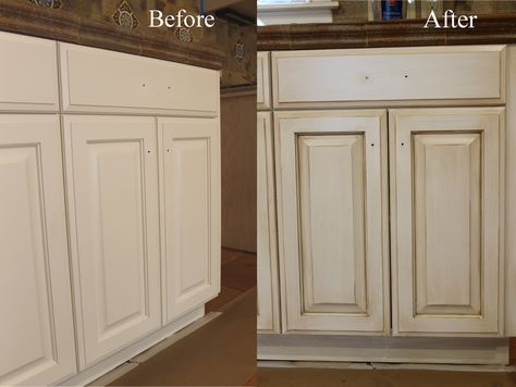 Before and after....Glazing/antiquing cabinets. A complete how to guide from a professional. A faux finisher shows you how to glaze cabinets like a pro! Start with your basic white cabinets, or start from scratch with dated wood cabinets. Glaze in any color, on any color!  Theraggedwren.blogspot.com