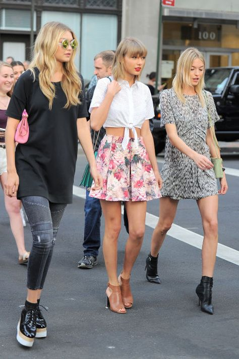 Gigi Hadid, Taylor Swift and Martha Hunt head to dinner in Tribeca in laid back pieces paired with pumped up kicks. Get the look here!