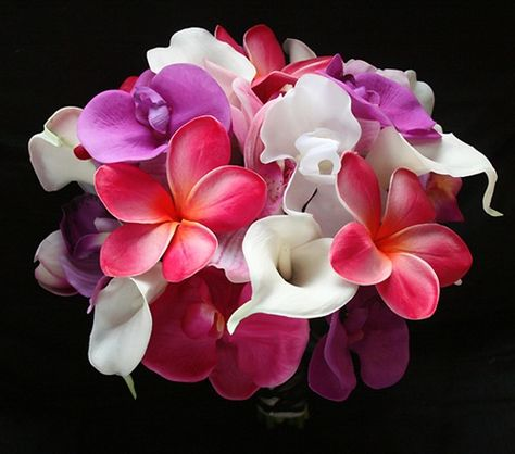 Natural Touch Fuchsia Plumerias, Orchids & Callas Bouquet