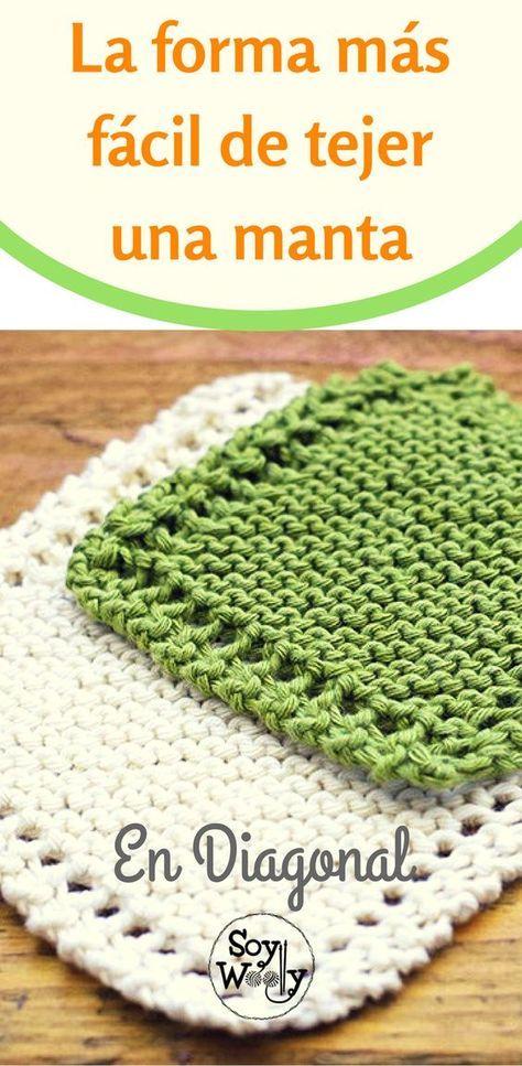 La Forma Más Fácil De Tejer Una Manta En Diagonal Soy Woolly Colchas Tejidas A Dos Agujas Mantas A Dos Agujas Mantas Bebe Dos Agujas