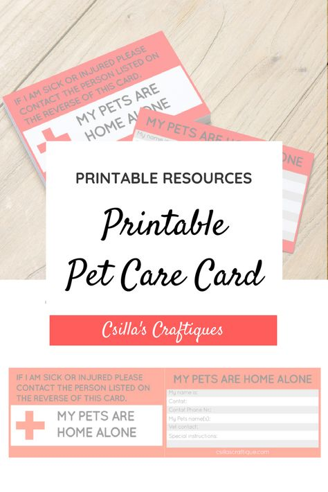 Printable Pet Care Card Pet Emergency Card Pet Care Pet Care Printables