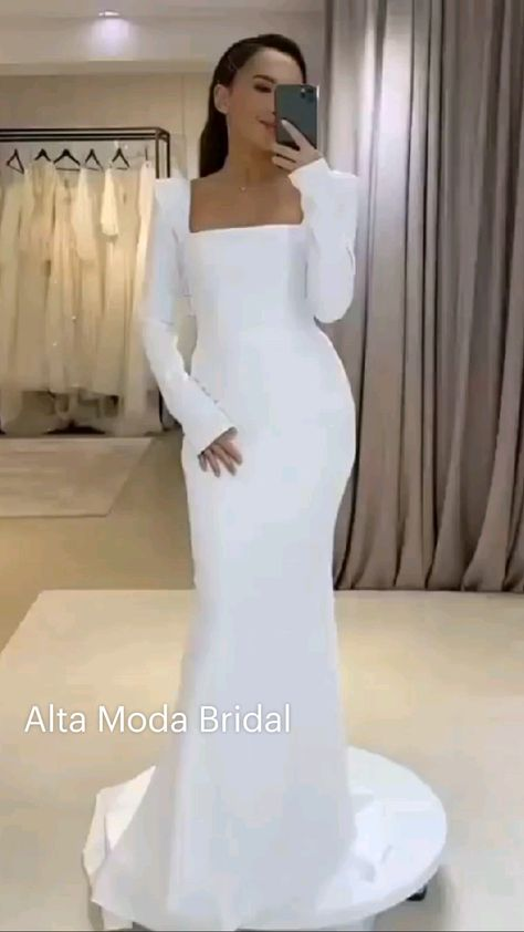 Modest wedding dress with long sleeves coming soon to Alta Moda Bridal