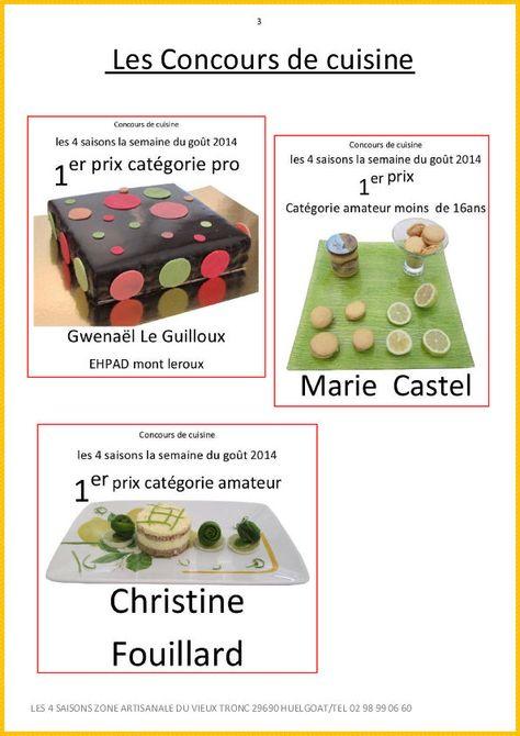 Les Gagnants De L Annee 2014 Concours Cuisine Semaine Du Gout