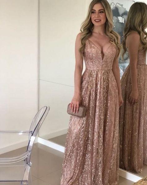 Vestido Longo Rose Gold En 2019 Vestido De Noche Rosa