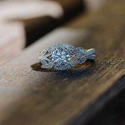 New Fashion 925 Silver Jewelry Round Cut White Sapphire Wedding Ring Size 6-10