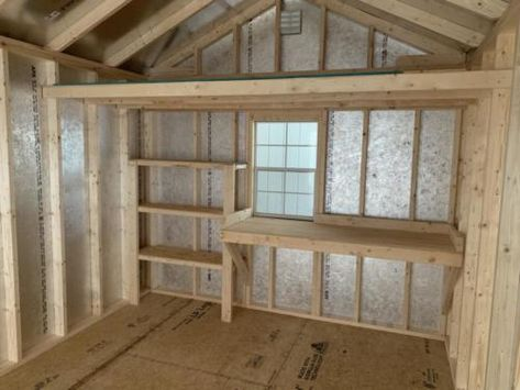 Shed Storage Shelves, Storage Shed Organization, Barn Storage, Storage Shed Interior Ideas, Storage Ideas, Cool Sheds, Small Sheds, Craft Shed, Diy Shed