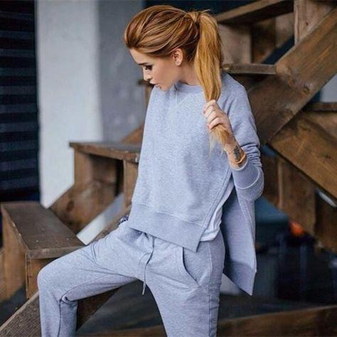 2016 Women's Tracksuit 100% Cotton Winter Clothing Hoodies Hot   long pants O-neck Vintage Sets 3 Color suit