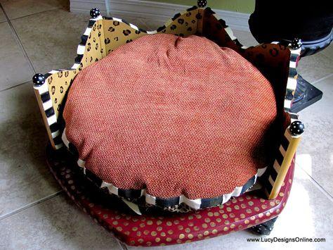 Lujo Ronda pintado a mano Camas para perros hecha de una mesa auxiliar de cebra y leopardo de impresión