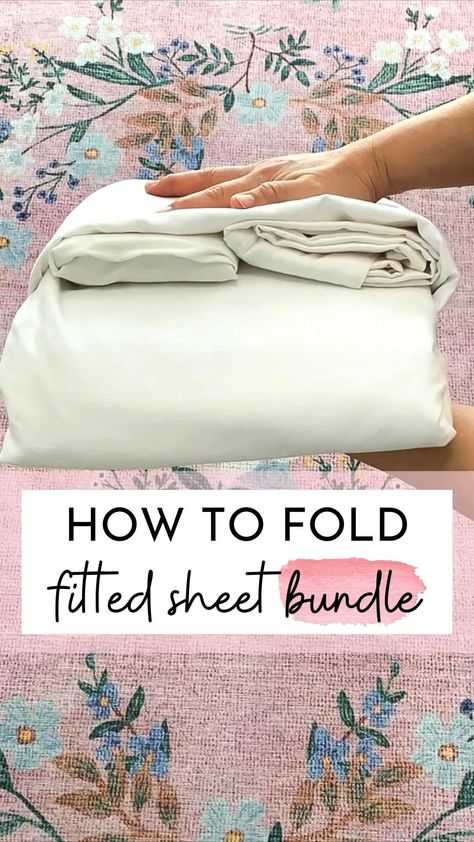 How to fold fitted sheet bundle - folding hacks - tidywithspark - home organization ideas
