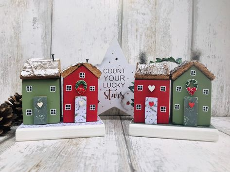 Christmas Cottages • Christmas Decor • Christmas Ornament • Winter Houses • Christmas Gift • Wooden Gift • The SeaSalt Shed • Christmas #etsy #housewares #homedecor #red #christmas #green #wood #driftwoodhouse #christmasornament #driftwoodornament