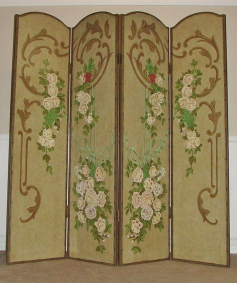ROOM DIVIDER, 4 PANEL SCREEN, HAND PAINTED, FLORAL, by DECORATIVE CRAFTS INC. #DECORATIVECRAFTSINC #AsianOriental