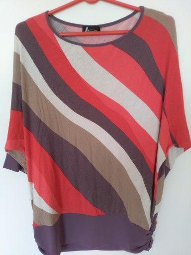 Elegancka Bluzka Damska Rekaw 3 4 Licytacja 7507841949 Oficjalne Archiwum Allegro Women S Top Striped Top Striped