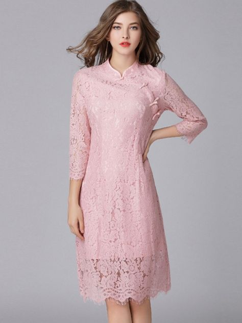 Lace Hollow Out Solid Color Stand Collar Seven Tenths