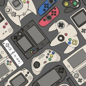 Video Game Controllers in True Colors custom fabric by spookishdelight for sale on Spoonflower Classic Video Games, Retro Video Games, Video Game Art, Video Game Crafts, Retro Games, Game Controller, Game Remote, Japanese Video Games, True Colors