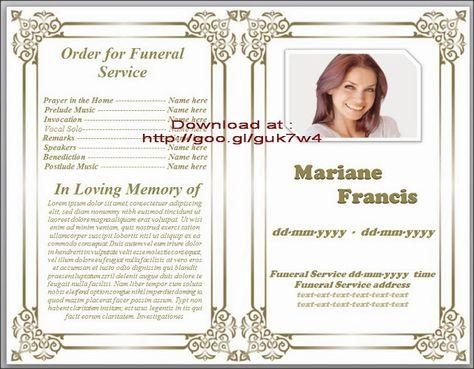 Free Funeral Program Template (funeralprogram0) on Pinterest