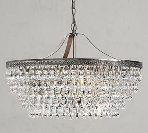 Clarissa Glass Drop Rectangular Chandelier Large 40 Length At