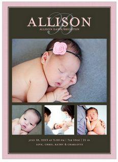 Linen Texture Baby Announcement for Shutterfly