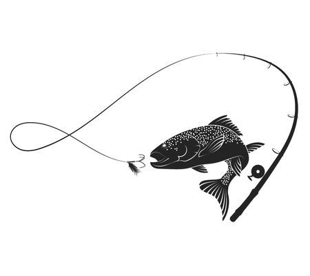 Fish Jumping For Bait And Fishing Rod Silhouette Fishing Rod Tattoo Fish Jumps Fish Drawings