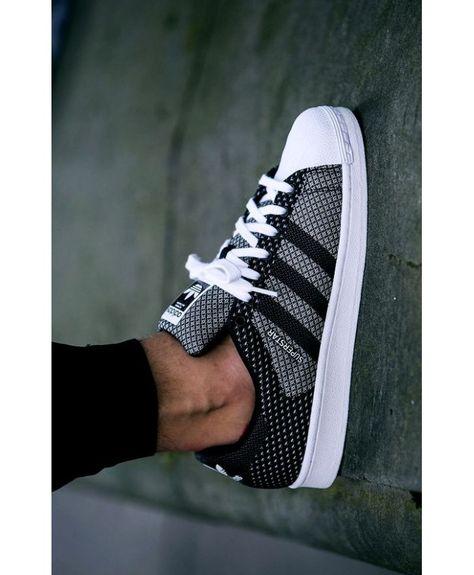 Homme Adidas Superstar Maille Grise, Blanc, Noir | Chaussure homme ...