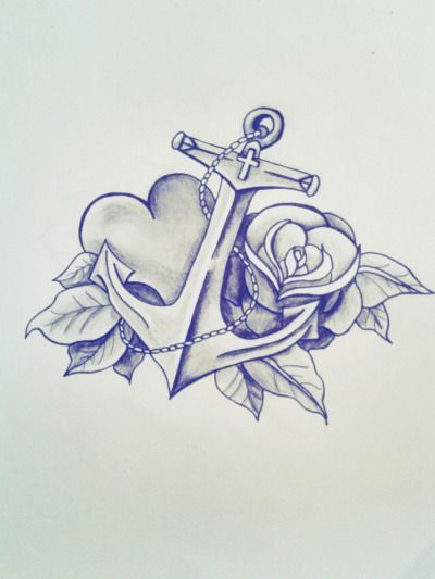 Beautiful anchor tattoo design... I love the heart - #anchor #Beautiful #design #heart #Love #Tattoo