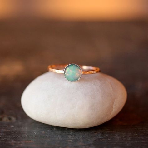 Opal and Gold Solitaire Ring