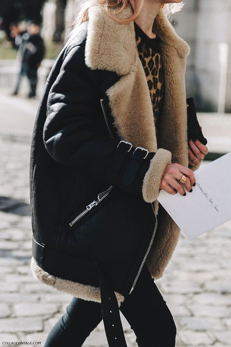 PFW-Paris_Fashion_Week_Fall_2016-Street_Style-Collage_Vintage-Shearling_Jacket-Leopard-