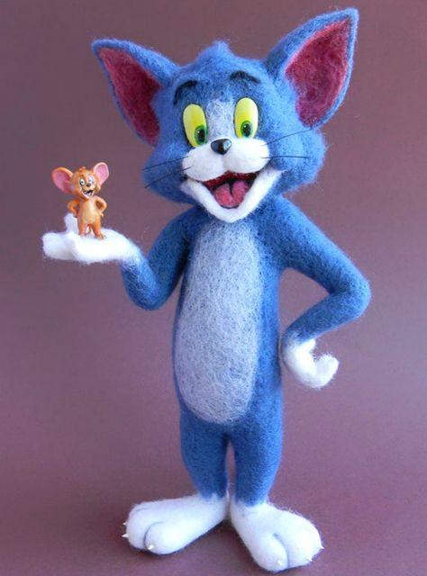 Needle FeltEd Animals Tom and Jerry, Wool Art Sculpture Felted Wool FigurineFelt Wool Toy Felt Doll
