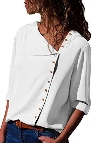 Women Solid Long Sleeve Tops Collared Casual Work Office Shirt Plus Size Tee New