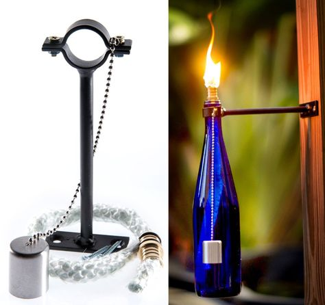 Wine Bottle Tiki Torch Kit - Includes All Torch Hardware, Tiki Torch Wick, Wick Cap - Just Add Bottle for an Outdoor Wine Bottle Light