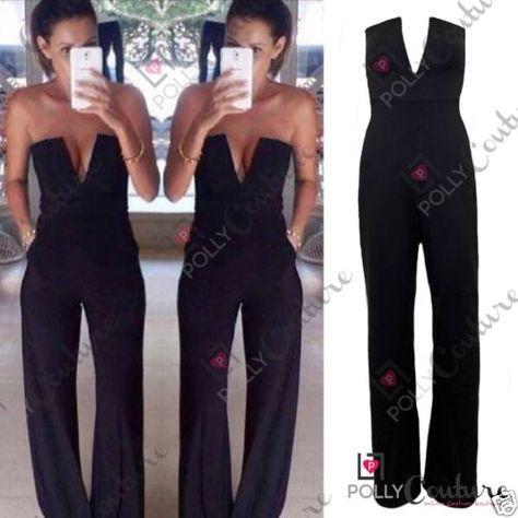 76d6b9dfd9f Womens-Celeb-Black-Plunge-Flared-Jumpsuit-Party-Dress-Boutique-Maxi-Playsuit