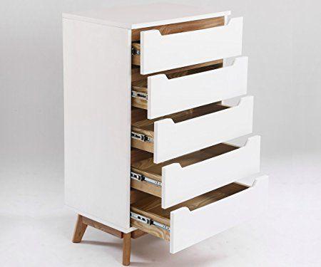 Chiffonnier Commode Design Scandinave Aika Blanc Et Chene 100 Cm X 60 Cm 5 Tiroirs Amazon Fr Cuisine Maison Dressing