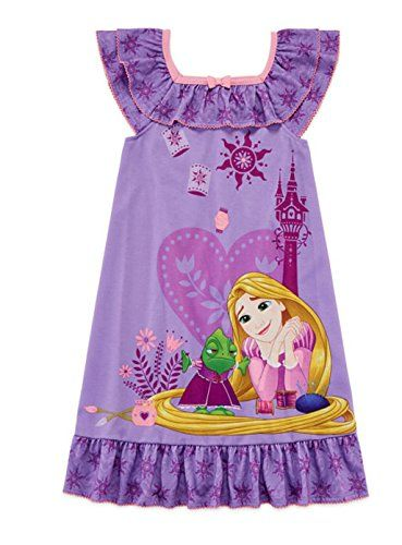 Disney Store Princess Tangled Rapunzel Girl Short Sleeve Nightgown Pajama Size 7//8