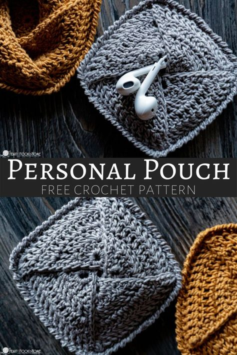 crochet diy Whether you're looking for a quick stocking stuffer idea or a little something for yourself, this free crochet pouch pattern is chic and quick! Crochet Simple, Crochet Diy, Crochet Motifs, Crochet Stitches, Quick Crochet Gifts, Crochet Bags, Things To Crochet, Crochet Ideas, Diy Crochet Projects