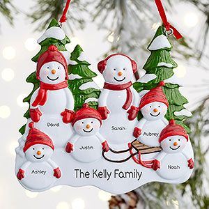 Personalized Christmas Tree Ornaments Family 6 7 8 Holiday Reindeer Ornament