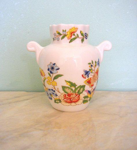 Vintage Aynsley Cottage Garden Vase Urn Handles Fine English Bone