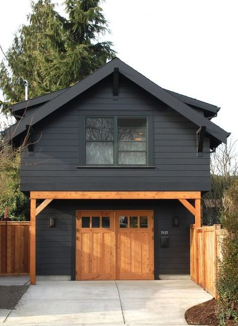 Architecture House Black 34 Attractive Black House Exterior Design Ideas To Try Asap Black House Exterior, House Paint Exterior, Exterior House Colors, Exterior Design, Modern Exterior, Design Garage, Detached Garage Designs, Plans Architecture, Architecture Office