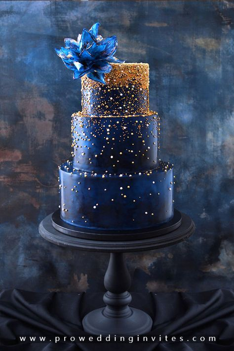 Dark Blue And Gold Sparkle Cake by Nasa Mala Zavrzlama