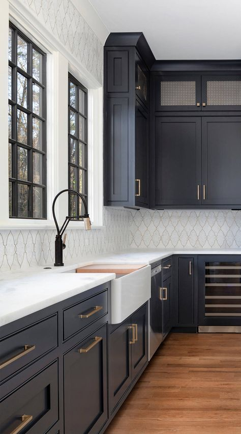 5 Hottest Kitchen Trends in 2020 & and how to keep your new kitchen relevant in this decade! Greige, black and green cabinets, matte black& The post 5 Kitchen Trends for 2020 & Keeping Your New Kitchen Relevant appeared first on Ajwa Homes. Dark Grey Kitchen Cabinets, Painting Kitchen Cabinets, Kitchen Cabinet Design, Green Cabinets, White Cabinets, Kitchen Backsplash, Kitchen Sinks, Dark Cabinets White Backsplash, Kitchen With Black Countertops