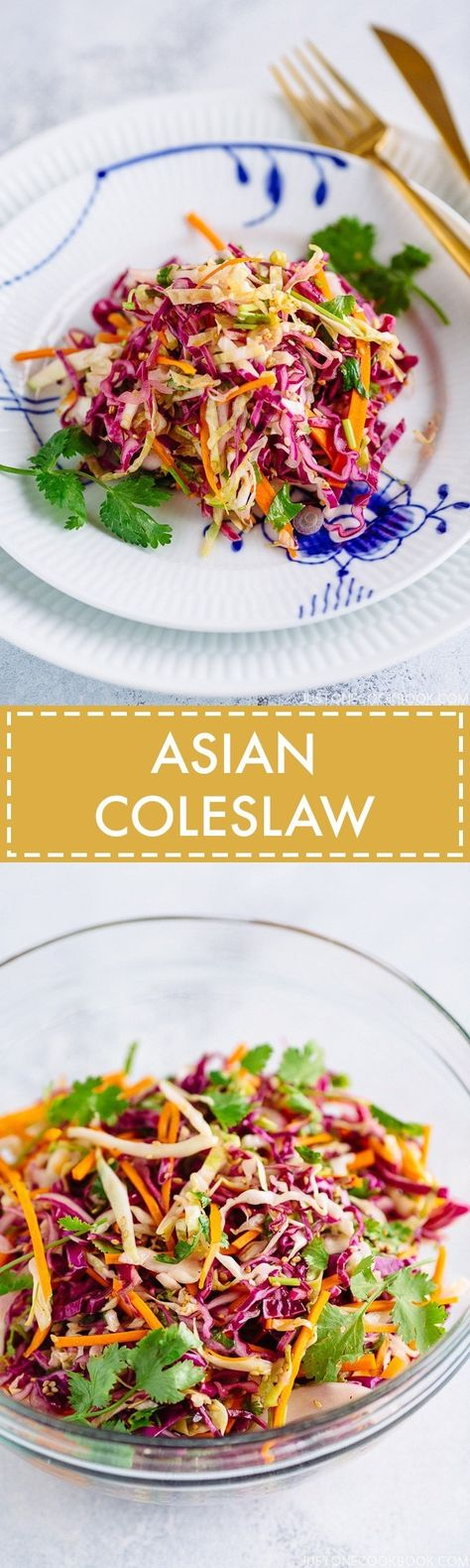 Asian Coleslaw アジア風コールスロー - Refreshing and colorful Asian-style coleslaw recipe. A perfect salad to complement Ahi tuna steak, BBQ meats, and other Asian themed dinner menus. #coleslaw #salad #asiansalad #コールスロー   Easy Japanese Recipes at JustOneCookbook.com