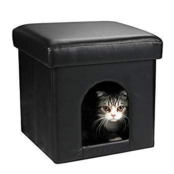 Dekinmax Cat Ottoman Small Dog Rabbit Condo Bed Cat Cube Pet House 2 In 1 Coll Bed In 2020 Cat Bed Cat Cube Large Dog Crate