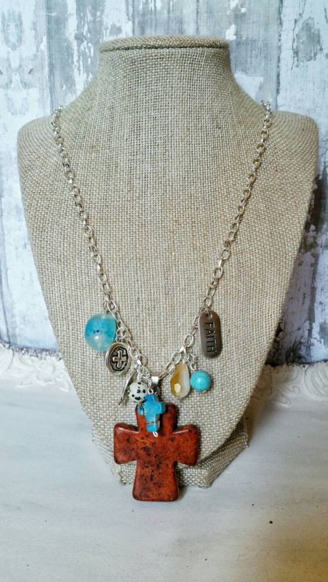 441fd8f475b2dd Gorgeous rustic cross charm necklace with glass beading and silver charms.  It has a large red agate stone cross pendant 2 inches in height. Small  turquoise ...