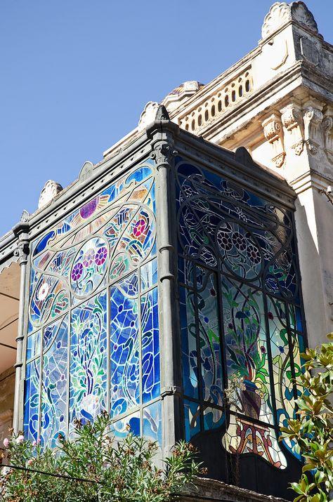 Art Nouveau glass balcony found in Sant Sadurní D& Spain, via . - Art Nouveau glass balcony found in Sant Sadurní D& Spain, via …, -