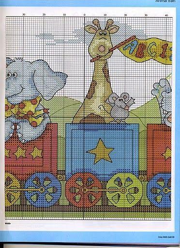 Kit per Punto Croce per Nascita Multicolore Motivo: Trenino con Animali Vervaco