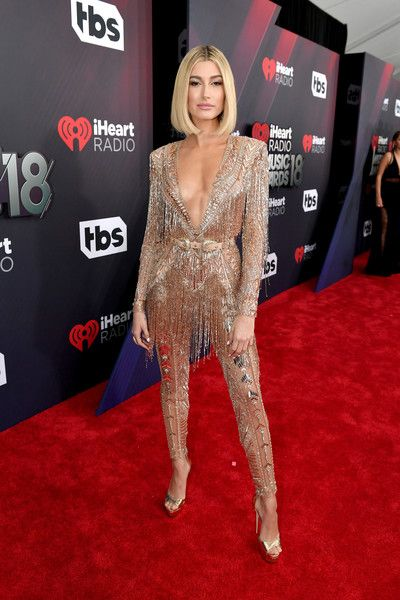 Hailey Baldwin attends the 2018 iHeartRadio Music Awards which broadcasted live on TBS, TNT, and truTV at The Forum.
