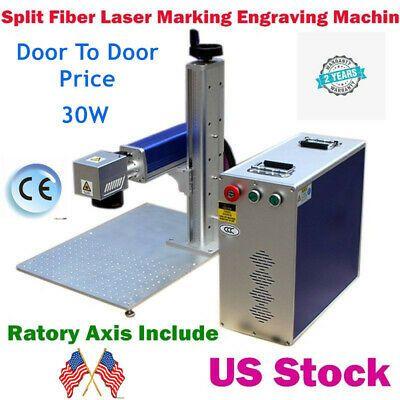 Ebay Sponsored Us Stock 30w Split Fiber Laser Marking Machine Raycus Laserrotation Axis Fda Laser Marking Fiber Laser
