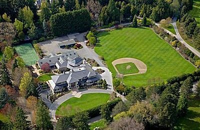 4 Acre Estate Includes Guest House Indoor Basketball Court Game Rooms Tennis Court Seattle Washington Backyard Baseball Woodway Outdoor Retreat