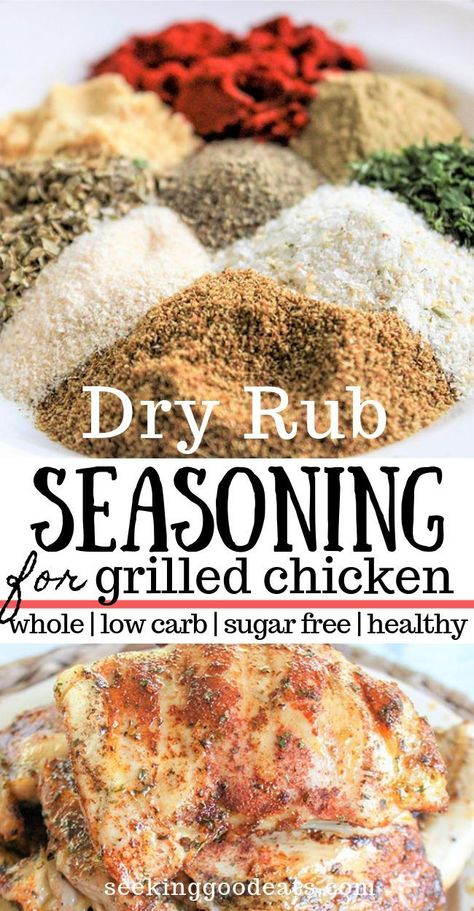 Dry Rub For Chicken (Low Carb, Sugar Free, Healthy Homemade) This dry rub recipe is perfect for grilled chicken and even pork. A homemade dry rub recipe for chicken that is easy to make and adds so much flavor to your BBQ! Making dry rub from scratch is a Homemade Spices, Homemade Seasonings, Homemade Recipe, Make Kylie Jenner, Dry Rub For Chicken, Best Chicken Rub, Smoked Chicken Rub, Smoked Pork, Dry Rub Recipes