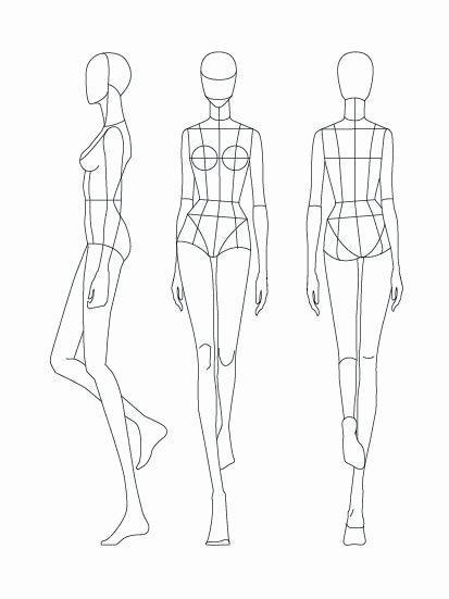 Mode Teenager Skizzierte Vorlage Figur Silhouette 15
